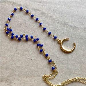 🌟Boho 14K Gold Blue Rosary Lariat Necklace🌟✨